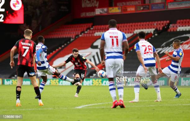 Lewis Cook of AFC Bournemouth scores his team's third goal during the Sky Bet Championship match between AFC Bournemouth and Reading at Vitality...