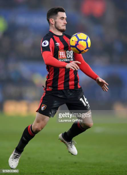 Lewis Cook of Bornemouth controls the ball during the Premier League match between Leicester City and AFC Bournemouth at The King Power Stadium on...
