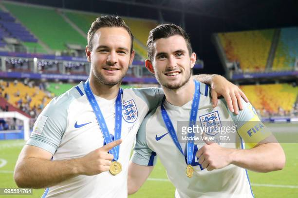 Lewis Cook of England and Adam Armstrong celebrate after England defeat Venezuela 10 in the FIFA U20 World Cup Korea Republic 2017 Final at Suwon...