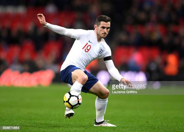 Lewis Cook of England controls the ball during the International friendly between England and Italy at Wembley Stadium on March 27 2018 in London...