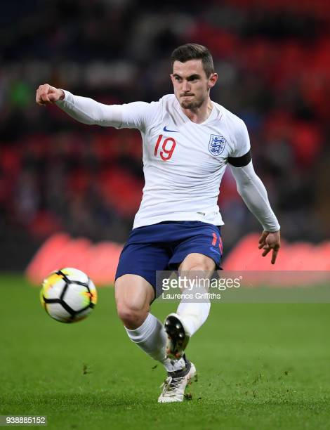 Lewis Cook of England crosses with the ball during the International Friendly match between England and Italy at Wembley Stadium on March 27 2018 in...
