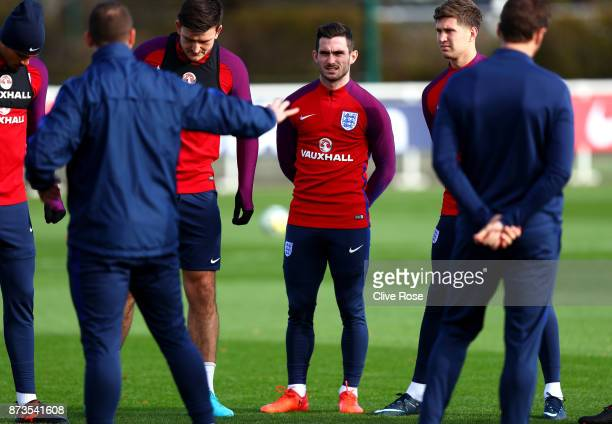 Lewis Cook of England looks on during an England training session ahead of the International Friendly match between England and Brazil on November 13...