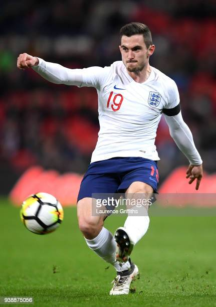 Lewis Cook of England passes the ball during the International friendly between England and Italy at Wembley Stadium on March 27 2018 in London...