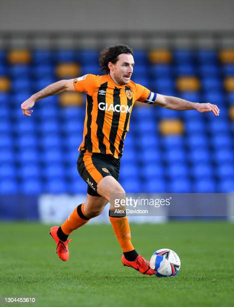 Lewis Coyle of Hull City runs with the ball during the Sky Bet League One match between AFC Wimbledon and Hull City at Plough Lane on February 27,...