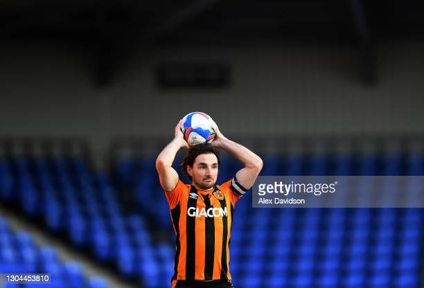 Lewis Coyle of Hull City takes a throw in during the Sky Bet League One match between AFC Wimbledon and Hull City at Plough Lane on February 27, 2021...