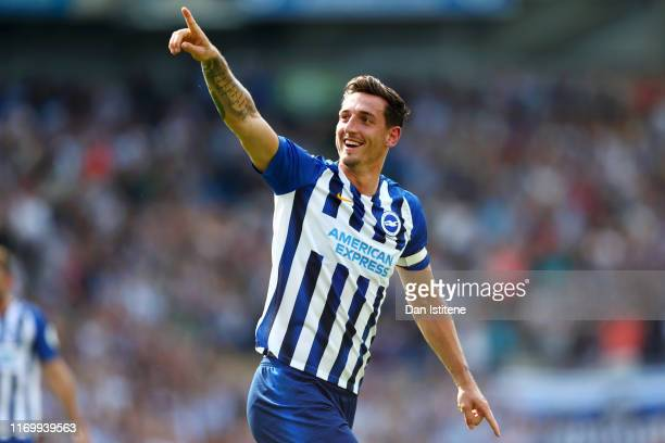 Lewis Dunk of Brighton and Hove Albion celebrates before his goal is disallowed during the Premier League match between Brighton Hove Albion and...