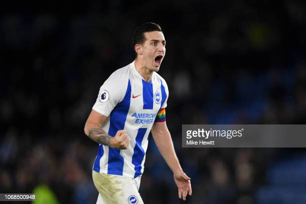 Lewis Dunk of Brighton and Hove Albion celebrates following his sides victory in the Premier League match between Brighton Hove Albion and Crystal...