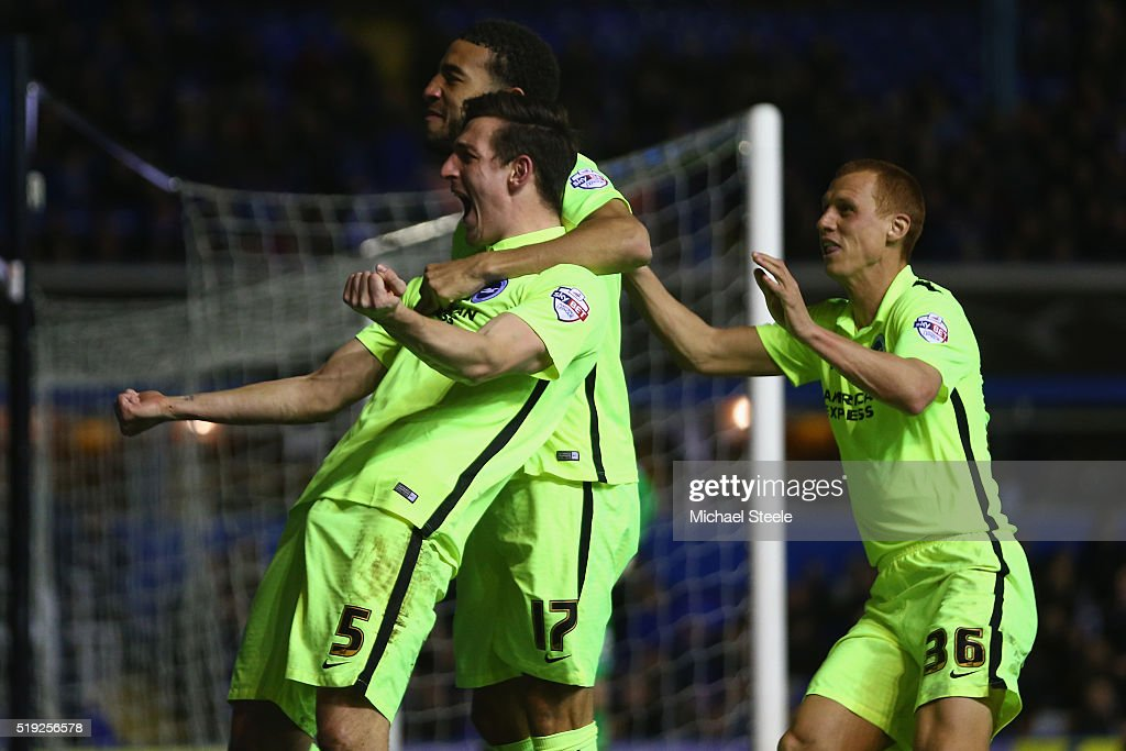 Lewis Dunk (L) of Brighton and Hove Albion celebrates scoring his sides second goal during the Sky Bet Championship match between Birmingham City and Brighton and Hove Albion at St Andrews on April 5, 2016 in Birmingham, United Kingdom.