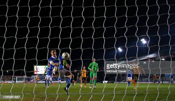 Lewis Dunk of Brighton and Hove Albion clears the ball off the line after a shot from Padraig Amond of Newport County during the FA Cup Third Round...