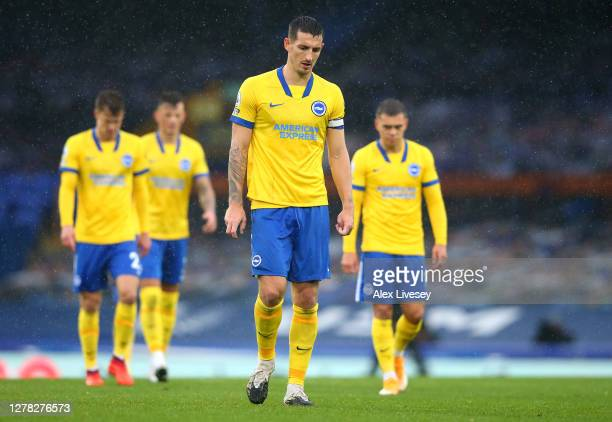 Lewis Dunk of Brighton and Hove Albion looks dejected during the Premier League match between Everton and Brighton & Hove Albion at Goodison Park on...