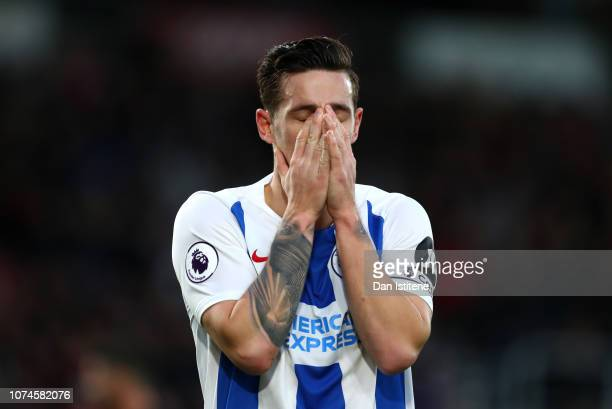 Lewis Dunk of Brighton and Hove Albion reacts during the Premier League match between AFC Bournemouth and Brighton Hove Albion at Vitality Stadium on...