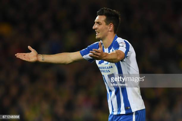 Lewis Dunk of Brighton and Hove Albion reacts during the Sky Bet Championship match between Norwich City and Brighton Hove Albion at Carrow Road on...