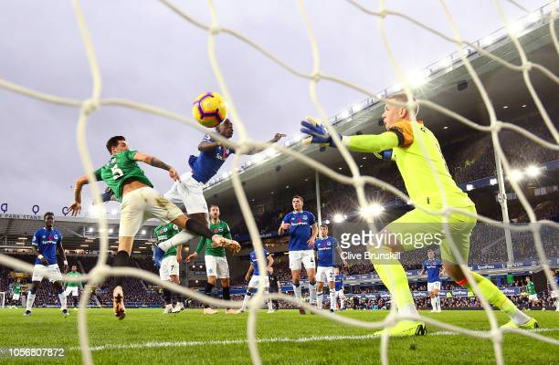 Lewis Dunk of Brighton and Hove Albion scores his team's first goal past Jordan Pickford of Everton during the Premier League match between Everton...