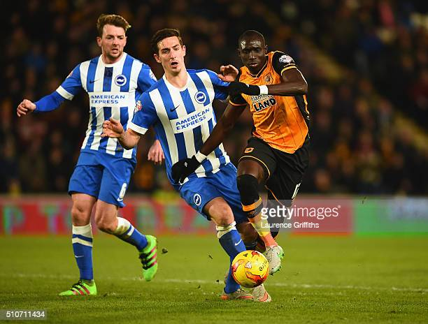 Lewis Dunk of Brighton battles with Mo Diame of Hull City during the Sky Bet Championship match between Hull City and Brighton and Hove Albion at KC...