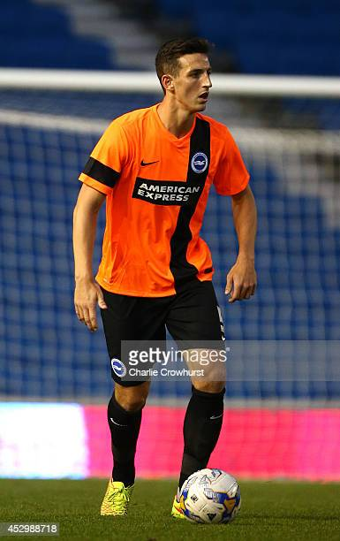 Lewis Dunk of Brighton during the Pre Season Friendly match between Brighton Hove Albion and Southampton at The Amex Stadium on July 31 2014 in...