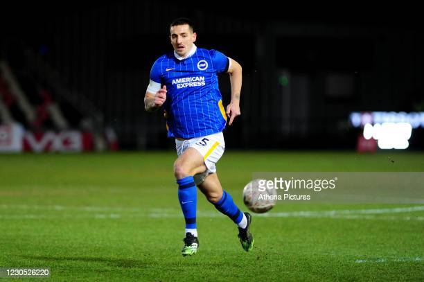 Lewis Dunk of Brighton & Hove Albion in action during the FA Cup Third Round match between Newport County and Brighton And Hove Albion at Rodney...