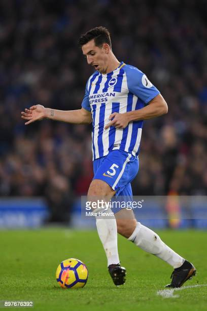 Lewis Dunk of Brighton in action during the Premier League match between Brighton and Hove Albion and Watford at Amex Stadium on December 23 2017 in...
