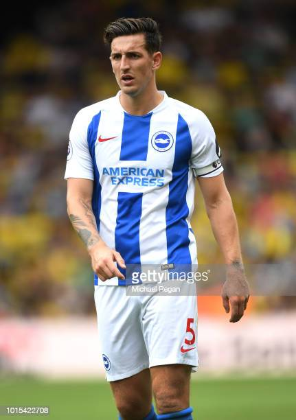 Lewis Dunk of Brighton looks on during the Premier League match between Watford FC and Brighton Hove Albion at Vicarage Road on August 11 2018 in...