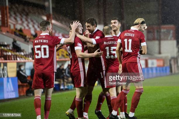 Lewis Ferguson of Aberdeen celebrates during the Ladbrokes Premiership match between Aberdeen and Hamilton at Pittodrie Stadium on October 20 2020 in...