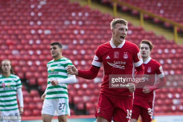 Lewis Ferguson of Aberdeen celebrates during the Ladbrokes Premiership match between Aberdeen and Celtic at Pittodrie Stadium on October 25 2020 in...