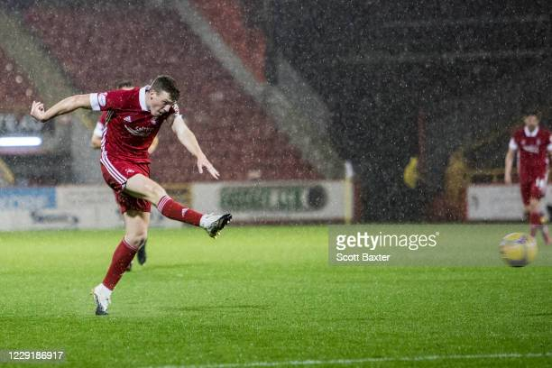 Lewis Ferguson of Aberdeen makes it 20 during the Ladbrokes Premiership match between Aberdeen and Hamilton at Pittodrie Stadium on October 20 2020...