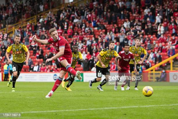 Lewis Ferguson of Aberdeen scores during the UEFA Conference League Second Qualifying Round: First Leg match between Aberdeen and BK Hacken at...