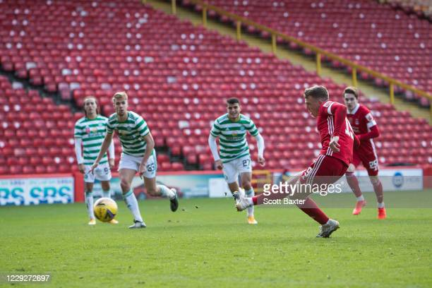 Lewis Ferguson of Aberdeen scores his second penalty during the Ladbrokes Premiership match between Aberdeen and Celtic at Pittodrie Stadium on...