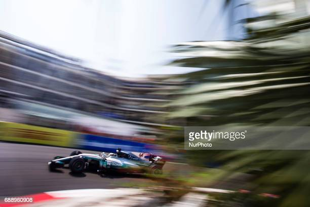 Lewis from Great Britain of Mercedes W08 Hybrid EQ Power team Mercedes GP during the Monaco Grand Prix of the FIA Formula 1 championship at Monaco on...
