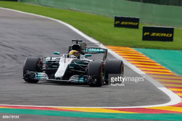 Lewis from Great Britain of team Mercedes GP during the Formula One Belgian Grand Prix at Circuit de SpaFrancorchamps on August 26 2017 in Spa Belgium