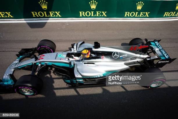 Lewis from Great Britain of team Mercedes GP during the Qualifying of Formula One Belgian Grand Prix at Circuit de SpaFrancorchamps on August 25 2017...