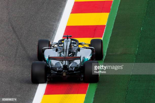 Lewis from Great Britain of team Mercedes GP using the Halo during the Formula One Belgian Grand Prix at Circuit de SpaFrancorchamps on August 25...