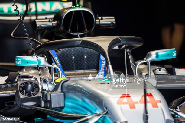 Lewis from Great Britain of team Mercedes GP with the Halo during the Formula One Belgian Grand Prix at Circuit de SpaFrancorchamps on August 24 2017...