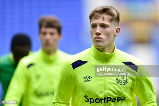 Lewis Gibson of Everton during the Premier League 2 match between Everton U23 and Tottenham Hotspur U23 at Goodison Park on September 10 2017 in...
