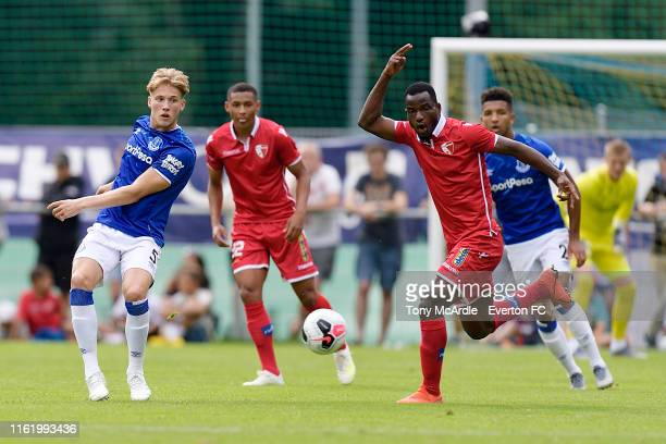 Lewis Gibson of Everton during the pre-season match between FC Sion and Everton on July 14, 2019 in Le Chable, Switzerland.