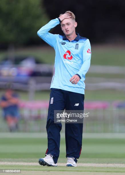 Lewis Goldsworthy of England U19 reacts during the TriSeries match between England U19 and Bangladesh U19 at The County Ground on August 05 2019 in...