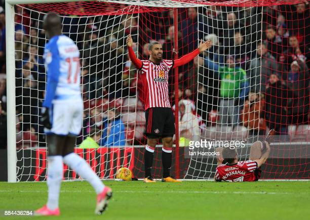 Lewis Grabban and Callum McManaman celebrate what they think is Sunderland's first goal which was ruled out for hand ball leading to McManaman being...