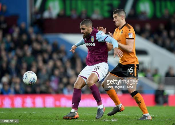 Lewis Grabban of Aston Villa and Conor Coady of Wolverhampton Wanderers during the Sky Bet Championship match between Aston Villa and Wolverhampton...
