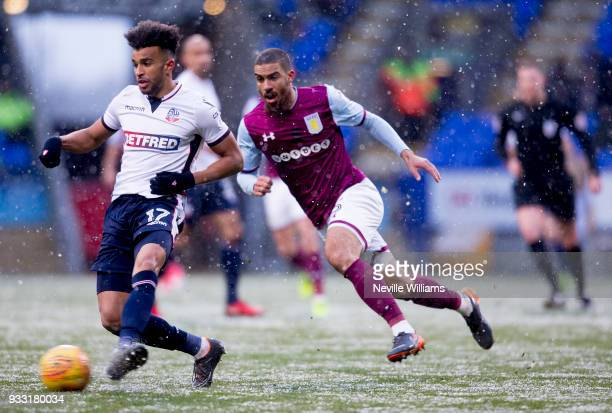Lewis Grabban of Aston Villa during the Sky Bet Championship match between Bolton Wanderers and Aston Villa at the Macron Stadium on March 17 2018 in...