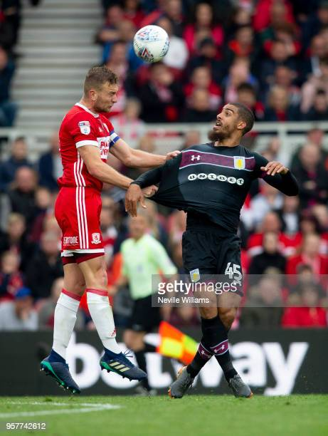 Lewis Grabban of Aston Villa during the Sky Bet Championship play off semi final first leg match between Middlesbrough and Aston Villa at the...