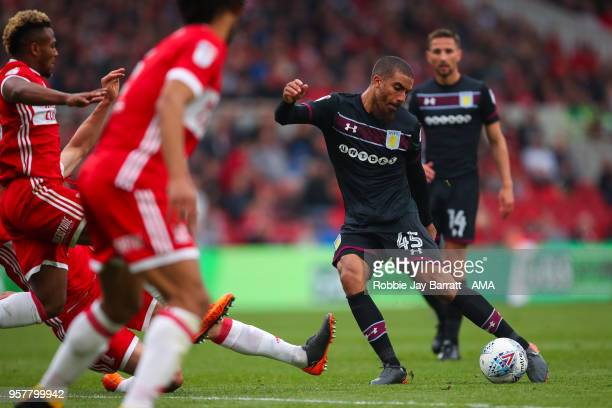 Lewis Grabban of Aston Villa has a shot at goal during the Sky Bet Championship Play Off Semi Final First Leg match between Middlesbrough and Aston...