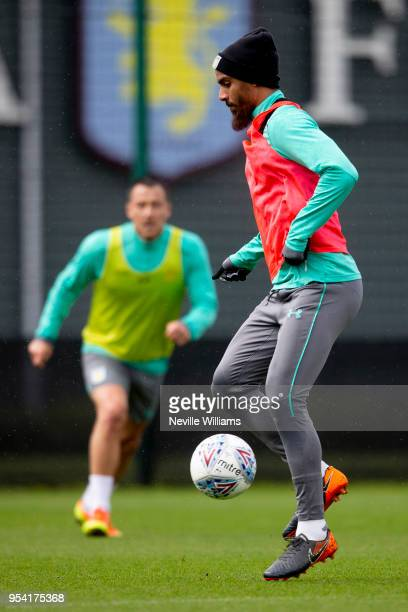 Lewis Grabban of Aston Villa in action during a training session at the club's training ground at the Recon Training Complex on May 03 2018 in...