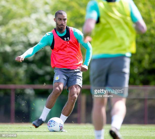 Lewis Grabban of Aston Villa in action during a training session at the club's training ground at The Recon Training Complex on May 9 2018 in...