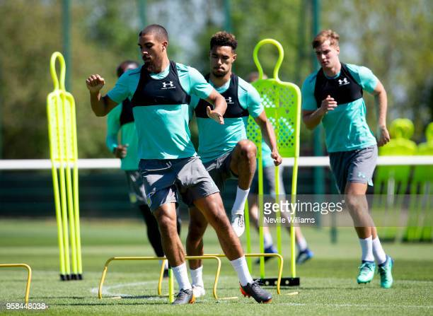 Lewis Grabban of Aston Villa in action during a training session at the club's training ground at The Recon Training Complex on May 14 2018 in...