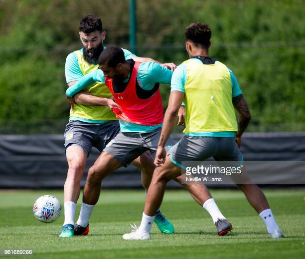 Lewis Grabban of Aston Villa in action during training session at the club's training ground at Recon Training Complex on May 23 2018 in Birmingham...