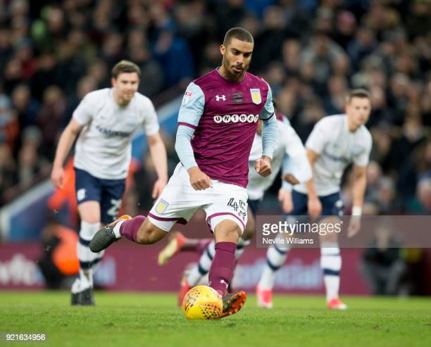 Lewis Grabban of Aston Villa scores for Aston Villa during the Sky Bet Championship match between Aston Villa and Preston North End at Villa Park on...