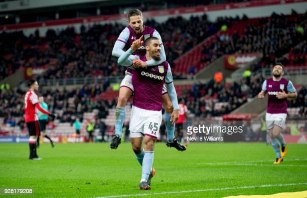 Lewis Grabban of Aston Villa scores for Aston Villa during the Sky Bet Championship match between Sunderland and Aston Villa at the Stadium of Light...