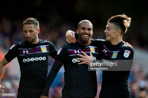 Lewis Grabban of Aston Villa scores for Aston Villa during the Sky Bet Championship match between Ipswich Town and Aston Villa at Portman Road on...