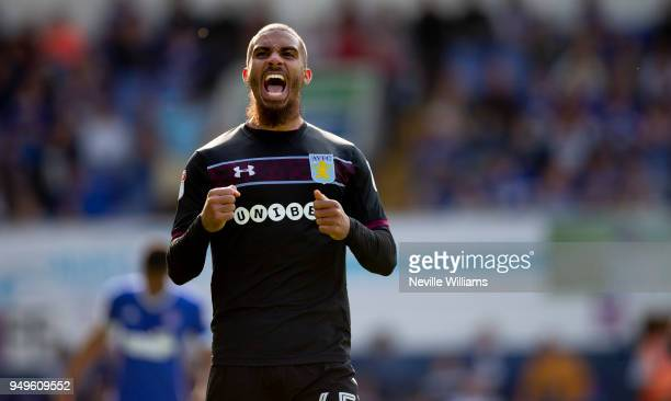 Lewis Grabban of Aston Villa scores his second goal for Aston Villa during the Sky Bet Championship match between Ipswich Town and Aston Villa at...