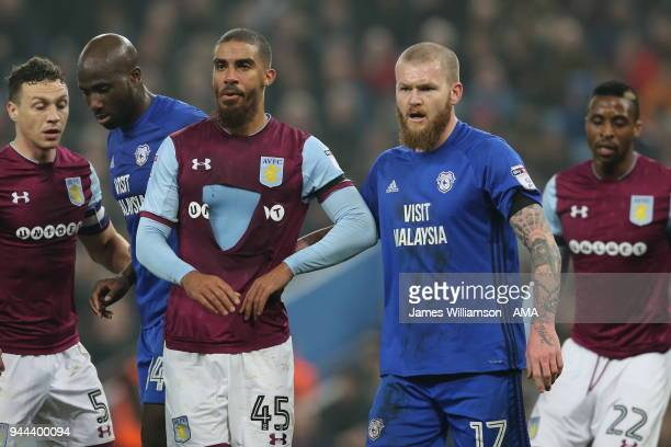 Lewis Grabban of Aston Villa wearing a ripped shirt during the Premier League match between Leicester City and Newcastle United at The King Power...