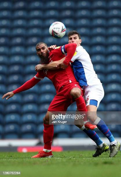 Lewis Grabban of Nottingham Forest battles with Daniel Ayala of Blackburn Rovers during the Sky Bet Championship match between Blackburn Rovers and...